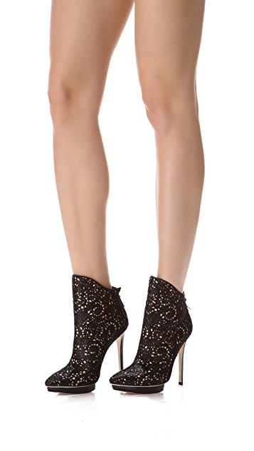alice + olivia Denby Laser Cut Haircalf Booties