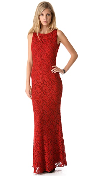 alice + olivia Sachi Open Back Lace Gown