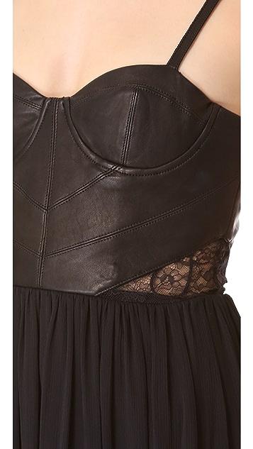 alice + olivia Elis Dress with Leather Bodice