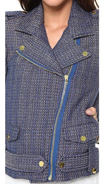 alice + olivia Kellen Quilted Moto Jacket
