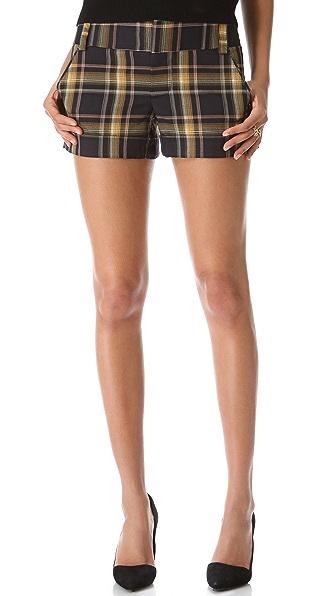 alice + olivia Plaid Cady Cuff Shorts