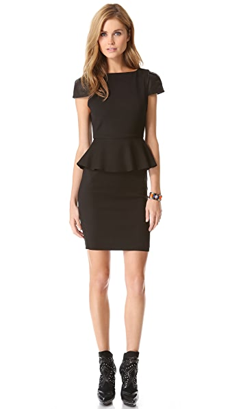 alice + olivia Caralie Peplum Dress with Leather Sleeves