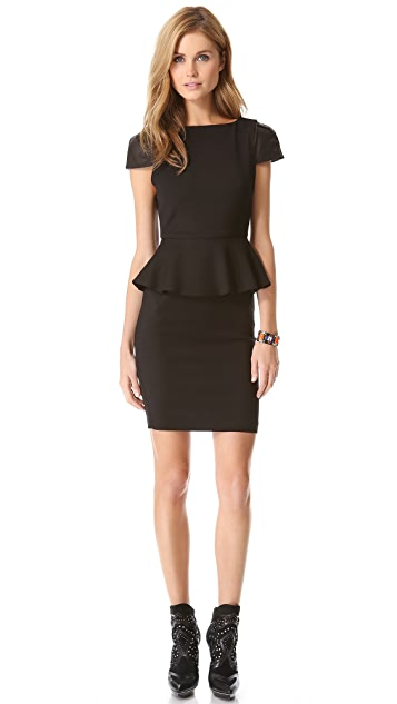 alice + olivia Caralie Peplum Dress with Leather Sleeves