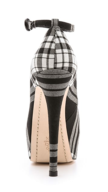 alice + olivia Lolita Plaid Platform Pumps