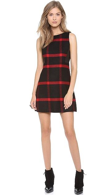alice + olivia Jolie Leather Side Dress