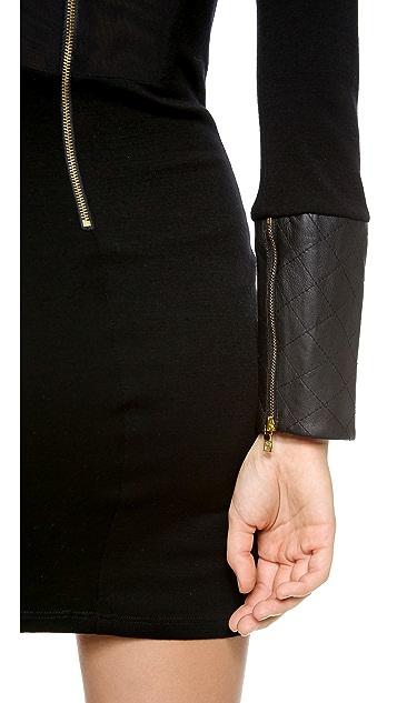 alice + olivia Daynah Quilted Shoulder Dress