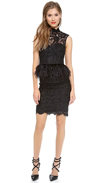 alice + olivia Patricia Short Feather Peplum Dress
