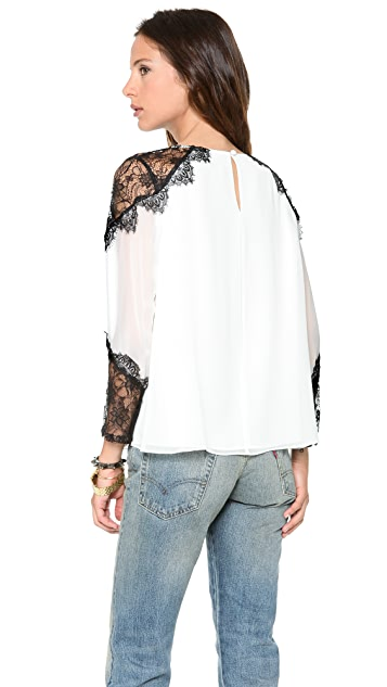alice + olivia Danyelle Lace Shoulder Blouse