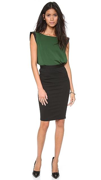 alice + olivia Mandi Blouse with Leather Sleeves