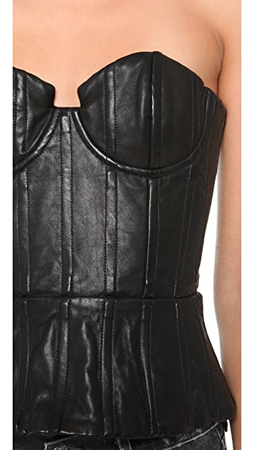 alice + olivia Jessi Leather Bustier Top