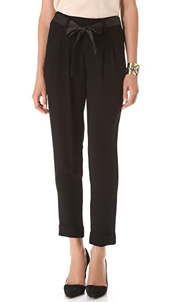 alice + olivia Leather Tie Belt Cuff Pants