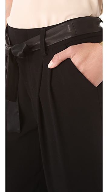 alice + olivia Leather Tie Belt Cuff Pants