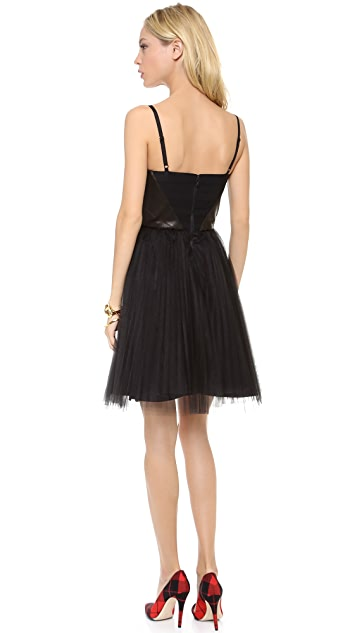 alice + olivia Gia Leather Bustier Dress