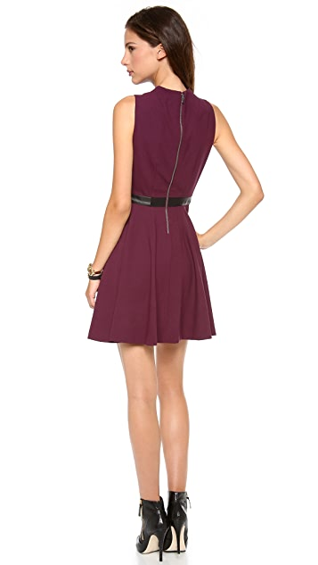 alice + olivia Alma Mock Neck Dress with Belt