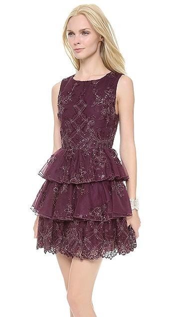 alice + olivia Rowley Sheer Back Tiered Dress