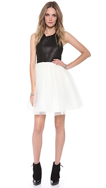 alice + olivia Ginnifer Leather Party Dress