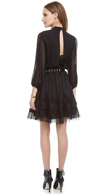 alice + olivia Suze Tiered Lace Dress