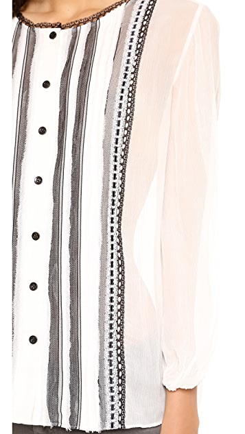 alice + olivia Leonie Pleated Peasant Top