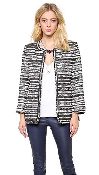 alice + olivia Luci Patch Pocket Long Jacket