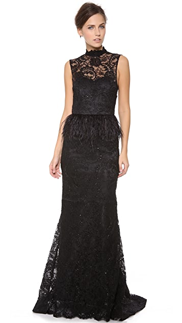 alice + olivia Jessica Feather Peplum Gown
