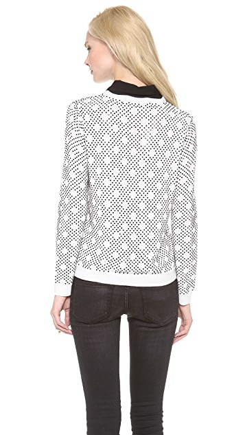alice + olivia Mira Patterned Rhinestone Top