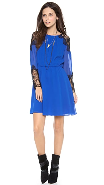 alice + olivia Dany Lace Shoulder Dress
