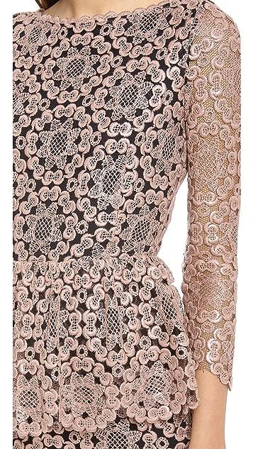 alice + olivia Regina Lace Peplum Gown
