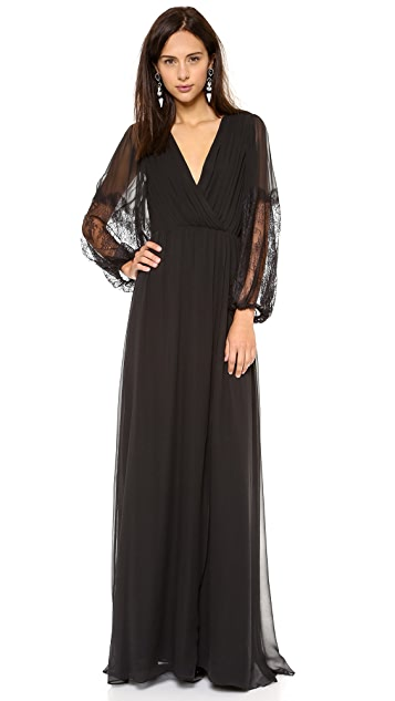 alice + olivia Saori Blouson Sleeve Maxi Dress