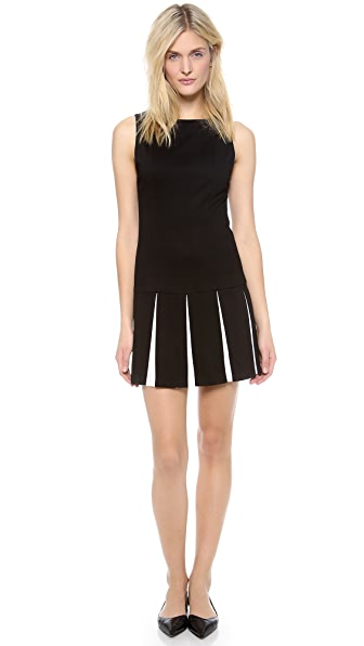 alice + olivia Mac Drop Waist Pleated Flare Dress