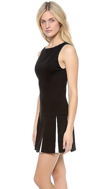 alice + olivia Mac Drop Waist Pleated Flare Dress