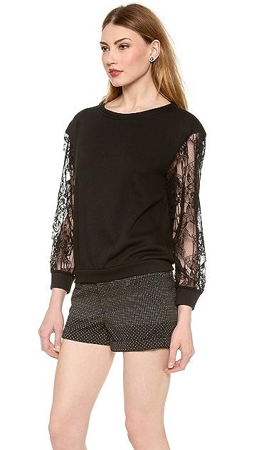 alice + olivia Brody Lace Sleeve Sweatshirt