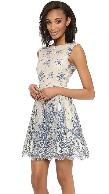 alice + olivia Fila Flare Box Pleat Dress