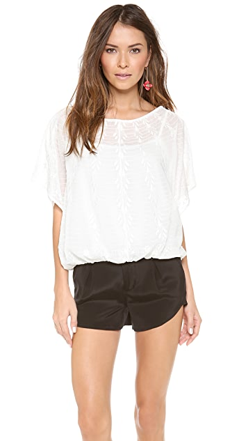 alice + olivia Jenna Embroidered Batwing Top