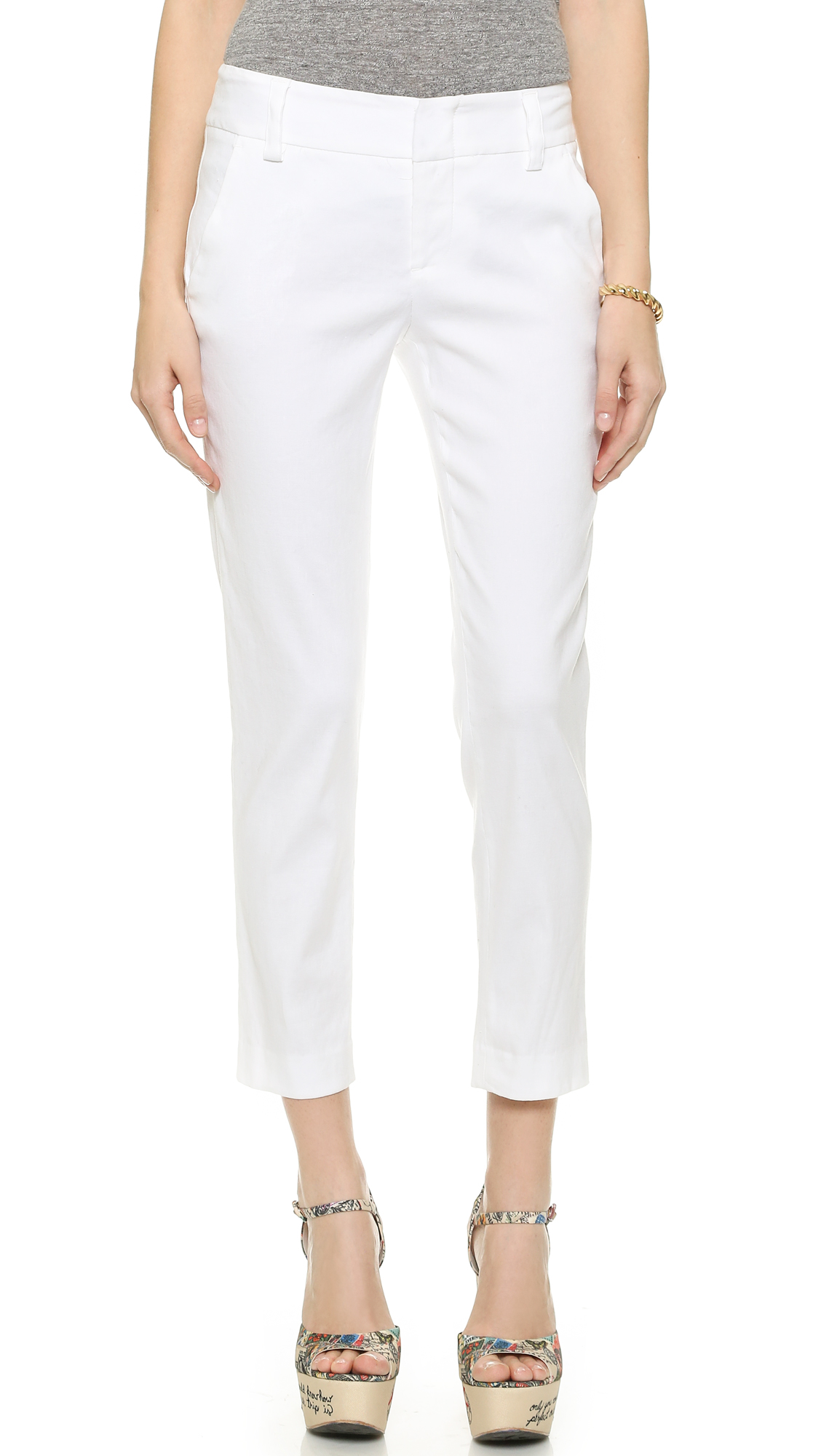 Alice + Olivia Stacey Cropped Slim Pants, White