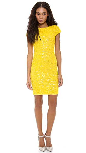alice + olivia Taryn Sequin Capsleeve Dress