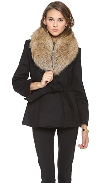 alice + olivia Evana Coat with Fur Trim