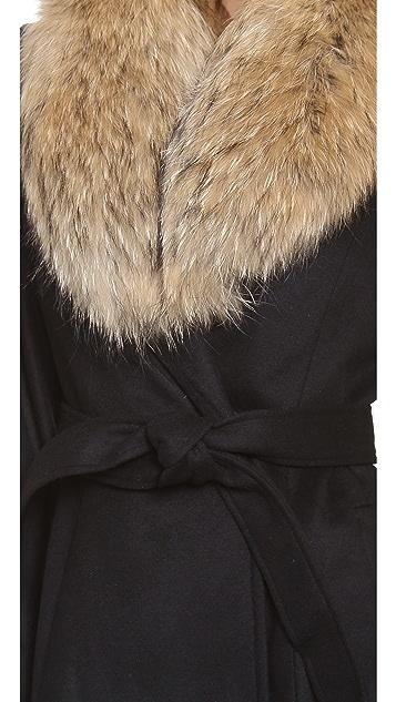 alice + olivia Evana Coat with Fur Trim