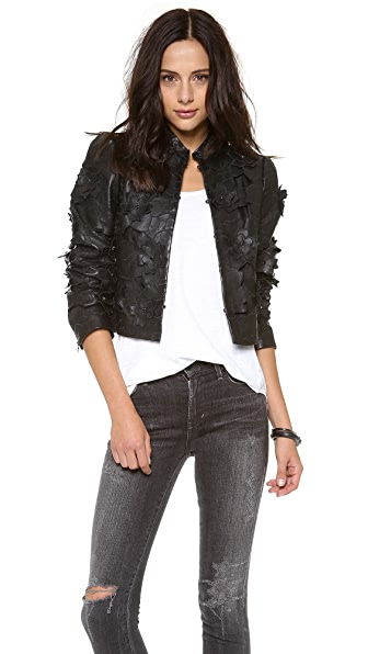 alice + olivia Zaiden Lasercut Leather Jacket