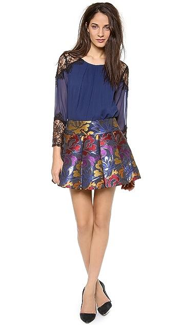 alice + olivia Oksana Box Pleat Embroidered Skirt
