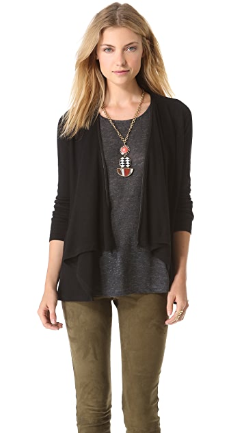 alice + olivia Cardigan with Leather Trim