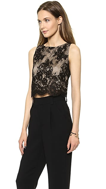 alice + olivia Cropped Lace Tank