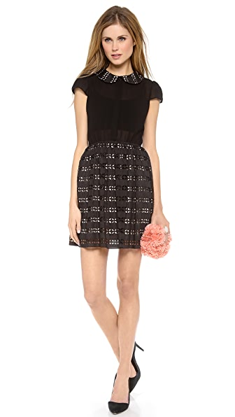 alice + olivia Anita Pleated Collar Dress