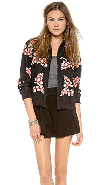 alice + olivia Felisa Embellished Zippered Jacket