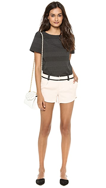 alice + olivia Butterfly Shorts with Leather Trim