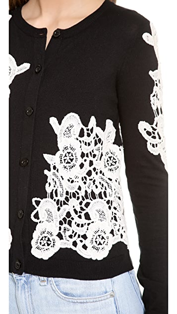 alice + olivia Cherrie Lace Embroidered Cardigan