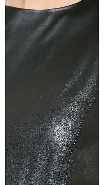 alice + olivia Lorita Cropped Leather Tank