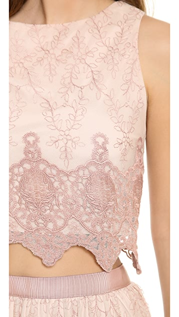 alice + olivia Ardith Embroidered Scallop Tank