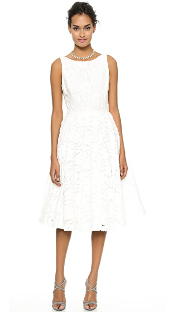alice + olivia Zack Lace Mid Calf Dress