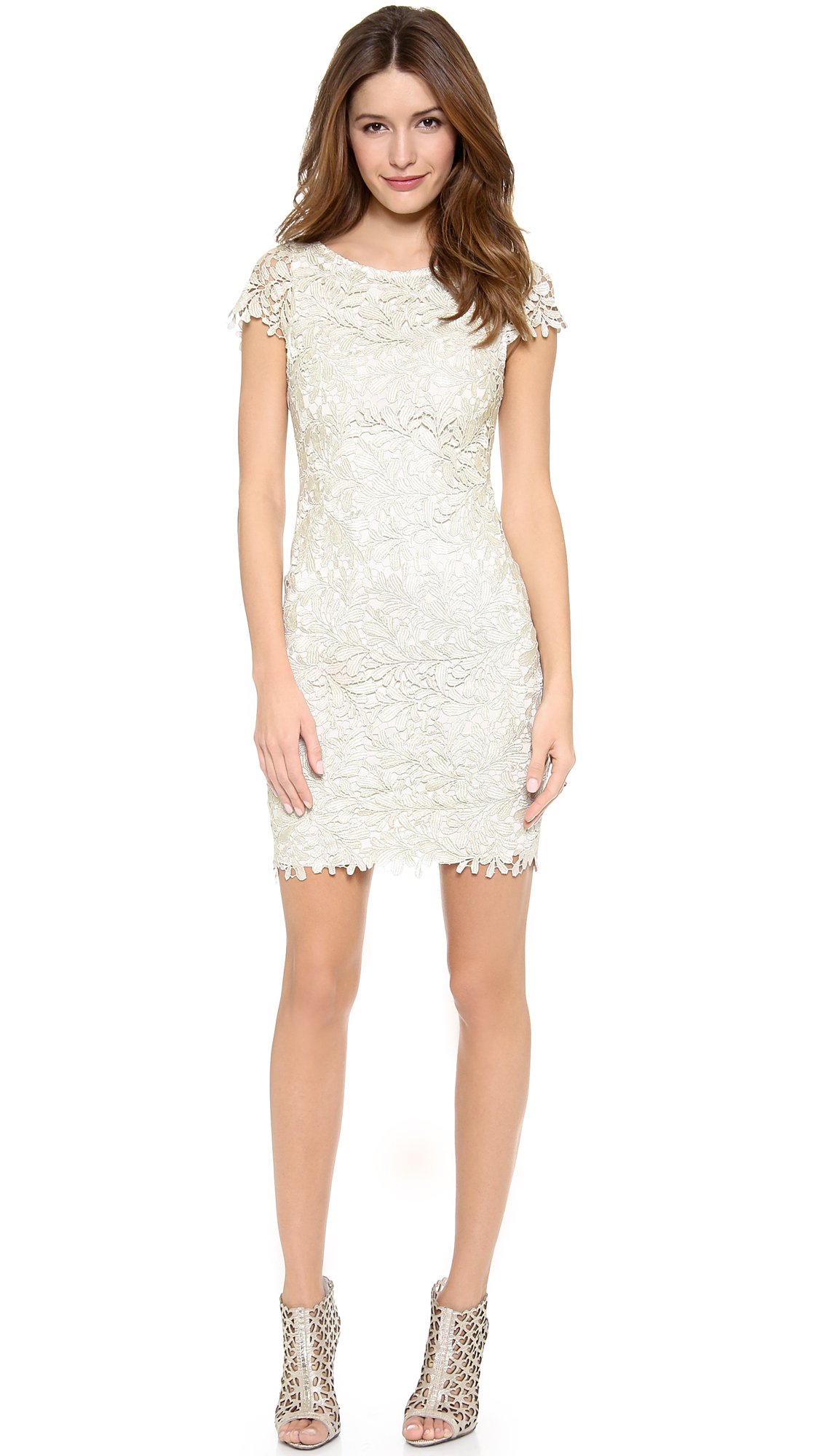 alice   olivia Clover Lace Fitted Midi Dress - SHOPBOP