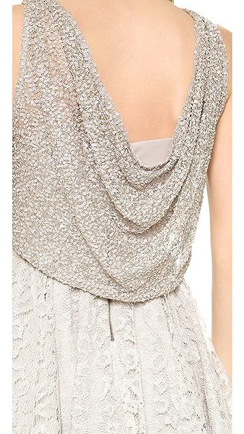 alice + olivia Hilta Beaded Flare Dress